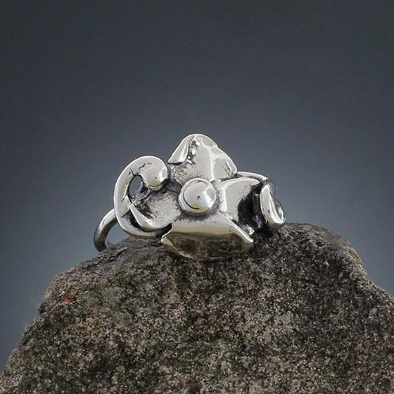 Thin Band Abstract Sterling Silver Flower Ring