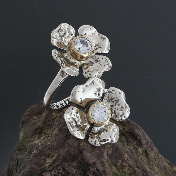 Sterling Silver and CZ Clover Flower Ring with Gold Bezel