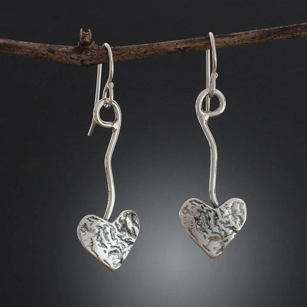Sterling Silver Heart on Vine Earrings