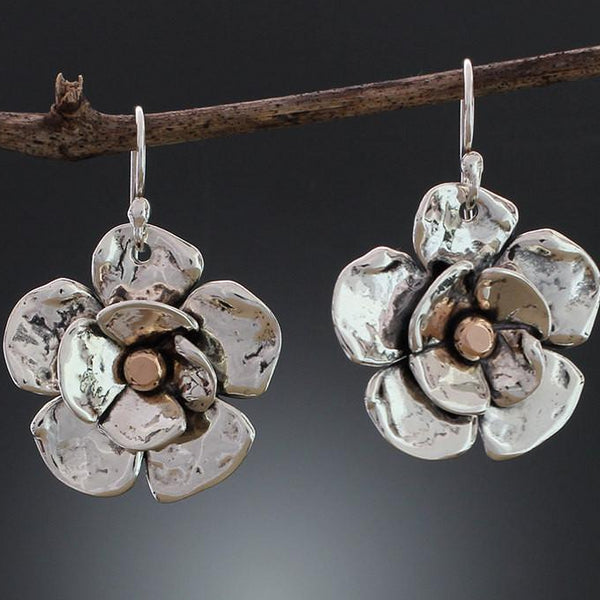 Sterling Silver Large Double Dogwood Flower Earrings with Rose Gold Center