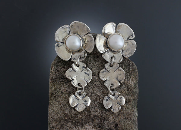 Pearl Dogwood Flower Earrings with two Flower Drop
