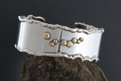 Sterling Silver Wide Cuff Bracelet with Gold Accents