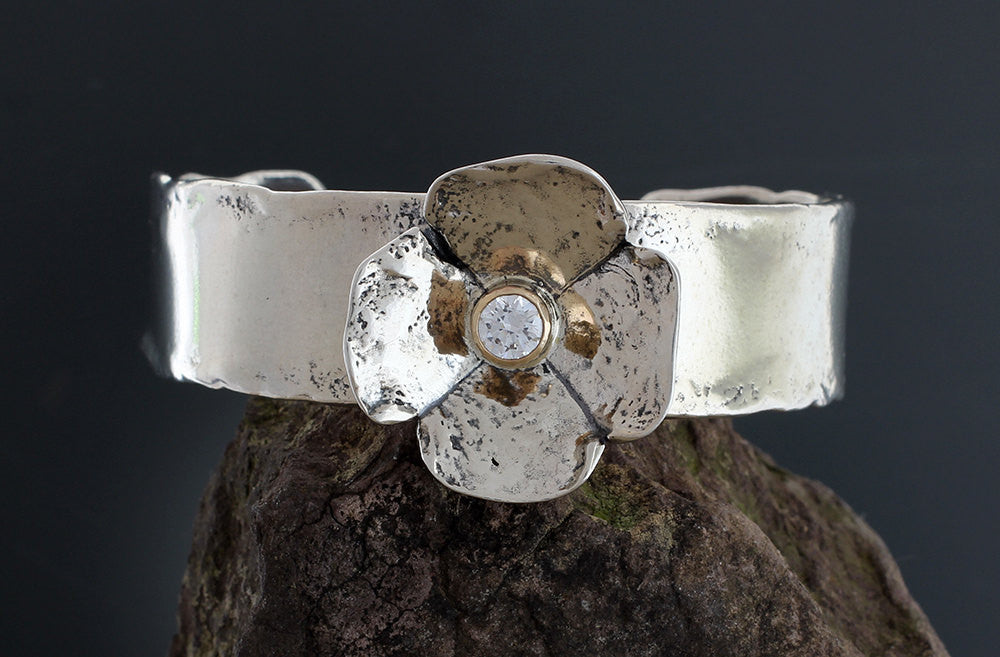 Sterling Silver Dogwood Flower with Cubic Zirconia in Gold Bezel Cuff Bracelet