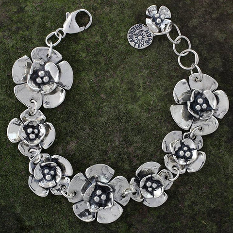 Sterling Silver Two Sized Double Dogwood Flower Bracelet