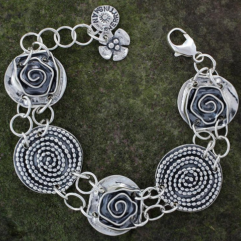 Beaded Spiral and Rose Bracelet