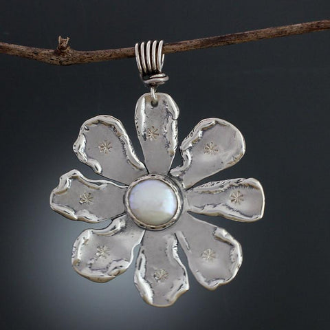 Sterling Silver Large Flower and White Pearl Pendant