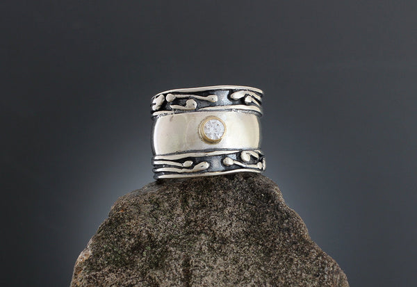 Sterling Silver Wide Vine Band Ring with CZ in Gold Bezel