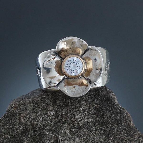 Sterling Silver Dogwood Flower with CZ in Gold Bezel Ring