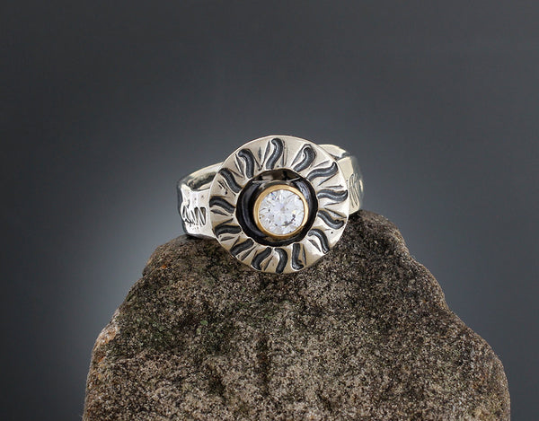 Sterling Silver Radial Stamped CZ in Gold Bezel Ring