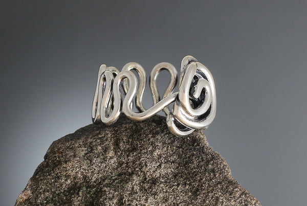 Sterling Silver Vine Ring with Spiral