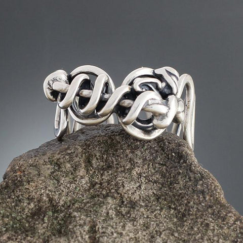 Sterling Silver Abstract Vine Ring - Size 10 1/4