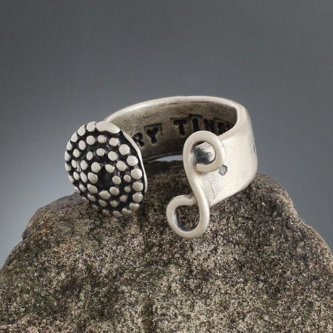 Sterling Silver Beaded Spiral & Swirl Open Ring - Size 5 1/2