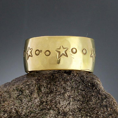 Sterling Silver Wide Brass Star Ring