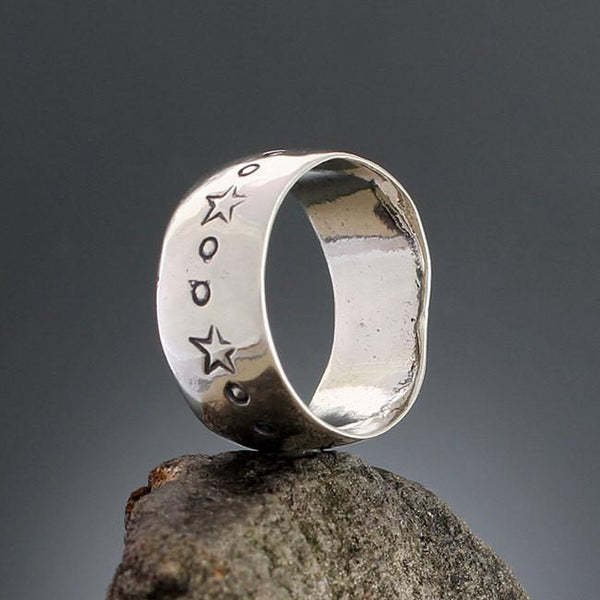 Wide Star Stamped Ring