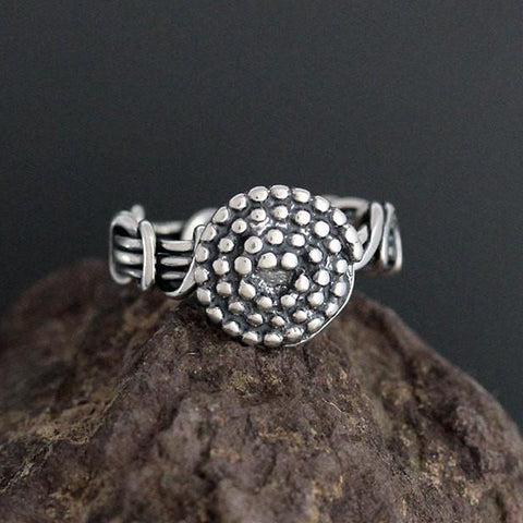Sterling Silver Wrapped Vine Ring with Beaded Spiral