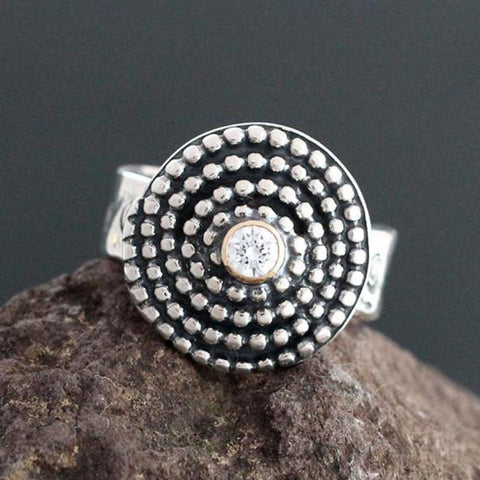 CZ in Gold Bezel on Sterling Silver Beaded Spiral Ring