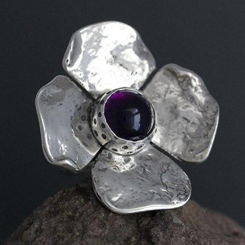 Large Dogwood Flower with Amethyst Ring