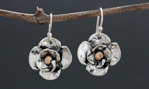 Sterling Silver Double Dogwood Earrings with Rose Gold Center