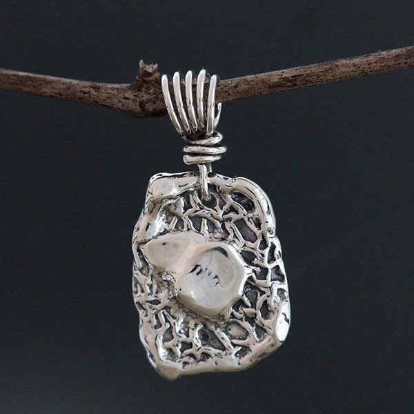 Sterling Silver Textured Liquid Center Pendant