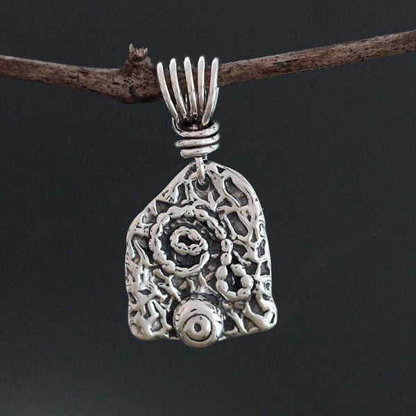 Sterling Silver Abstract Spiral & Ball Pendant
