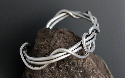 Sterling Silver Men's Wrapped Vine Cuff