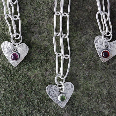 Sterling Silver Heart Charm with Stone Anklet
