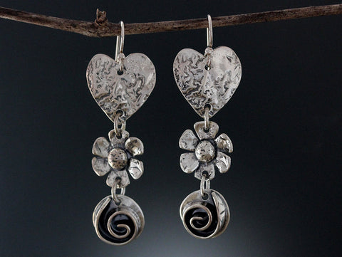 Sterling Silver Heart, Daisy and Rose Earrings
