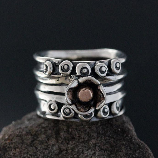 Sterling Silver Nordic Ring with Rose Gold Ball in Flower