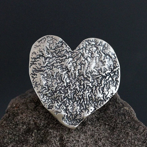 Large Sterling Silver Reticulated Heart Scatter Pin