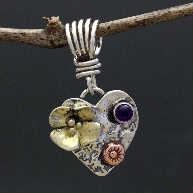 Mixed Metal Heart Pendant with Stone