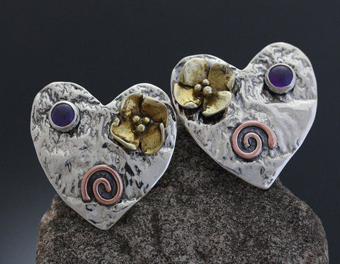 Sterling Silver Large Mixed Metal Heart Earrings with Amethyst