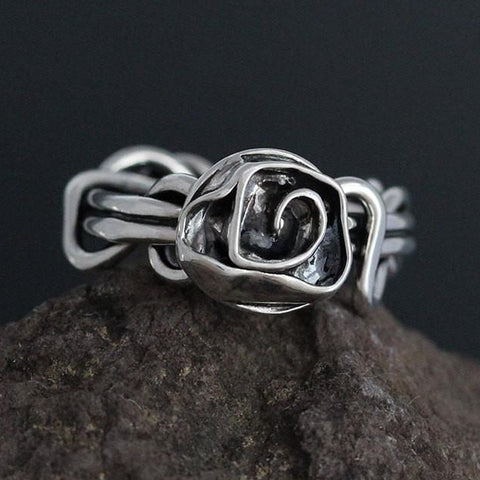 Sterling Silver Wrapped Vine Ring with Rose