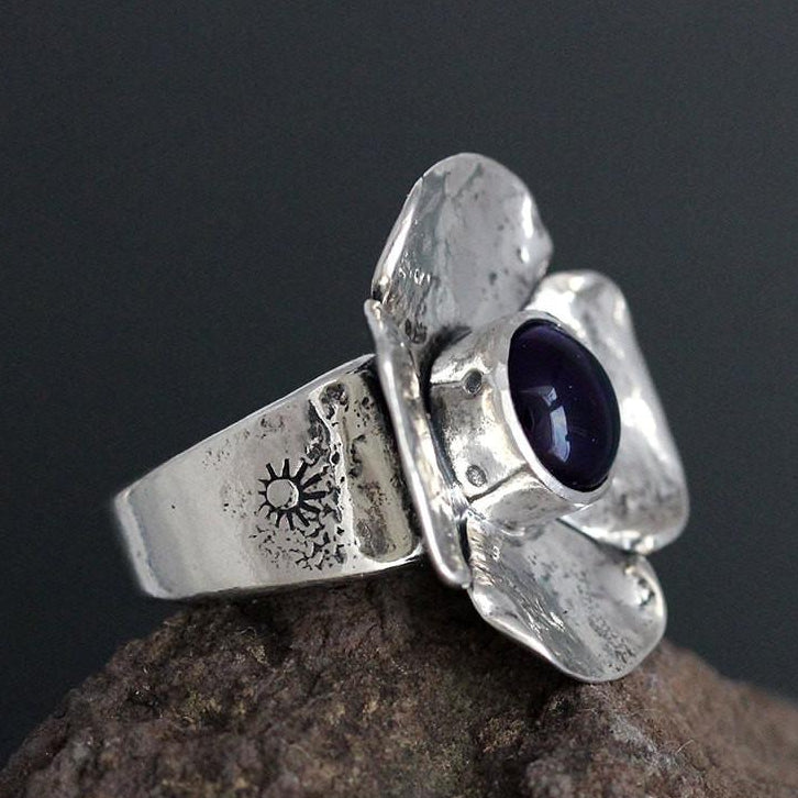 Sterling Silver Dogwood Flower with Amethyst Ring
