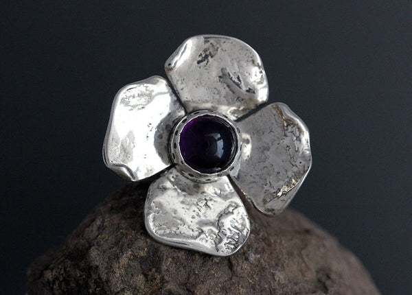 Sterling Silver Large Dogwood Flower with Amethyst Ring