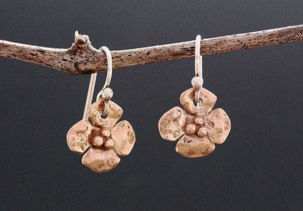 Rose Gold Dogwood Flower Earrings