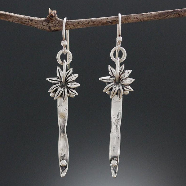 Sterling Silver Blade of Grass with Spinny Flower Earrings