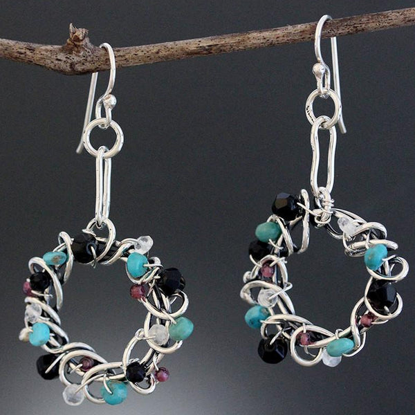 Sterling Silver Wrapped Wreath Hoop Earrings with Mixed Stones