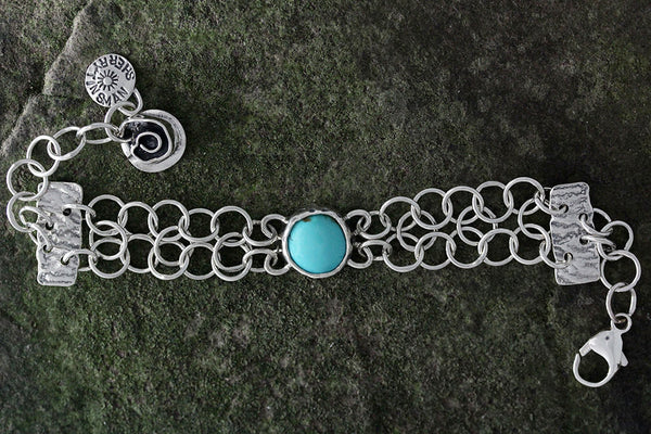Sterling Silver Turquoise Chain Link Bracelet