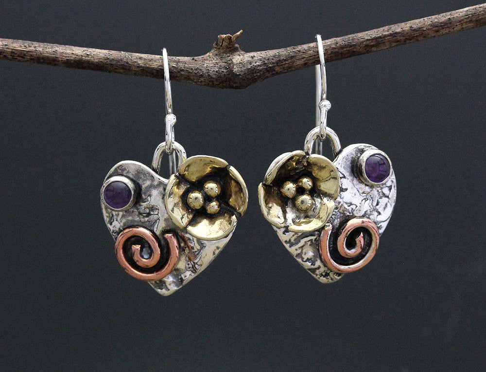 Mixed Metal Heart Earrings with Stone