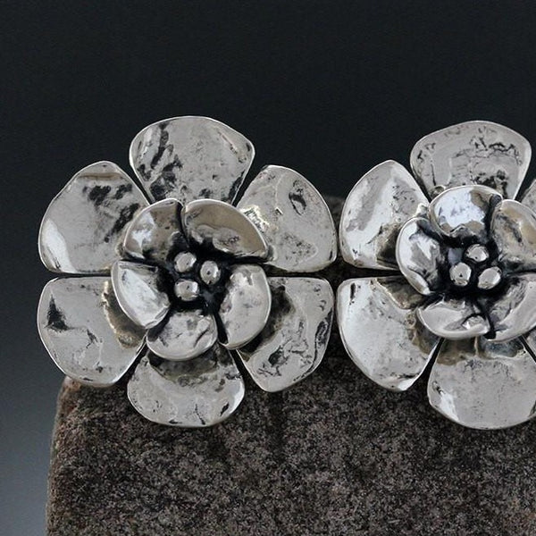 Sterling Silver Large Double Dogwood Flower Earrings