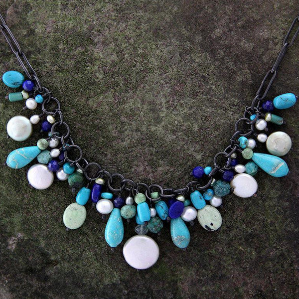 Sterling Silver and Blue Green Stone Necklace