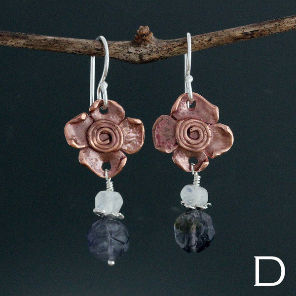 Copper Spiral Flower Earrings with Stone Drop