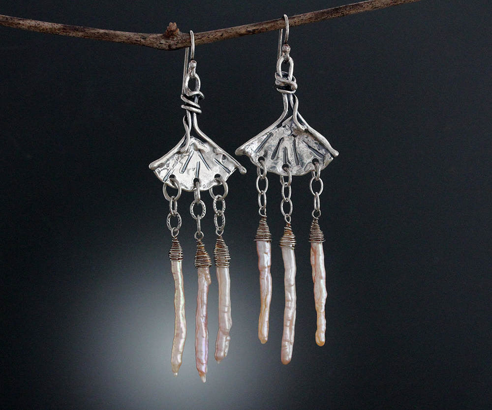 Sterling Silver Ginkgo Earrings with Pink Finger Pearl Drops