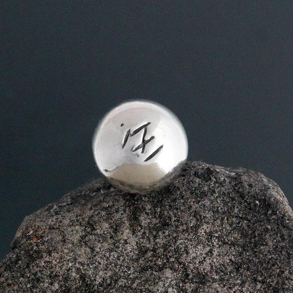 Sterling Silver Stamped Ball Pin