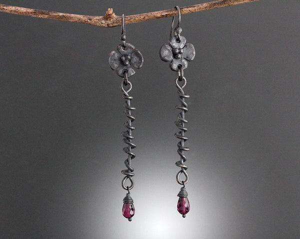Sterling Silver Oxidized Dogwood Earrings with Wrapped Vine & Amethyst Drop