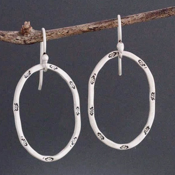 Sterling Silver Stamped Oval Hoop Earrings