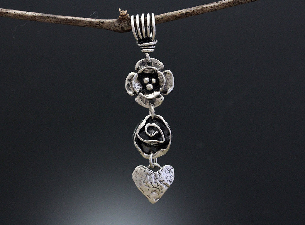 Sterling Silver Double Dogwood, Rose and Heart Pendant