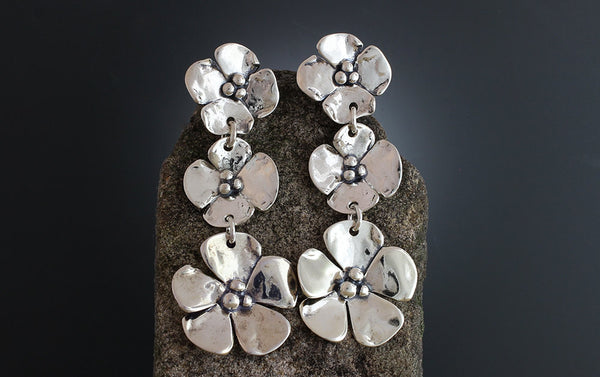 Sterling Silver Triple Dogwood Flower Earrings
