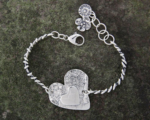 Sterling Silver Heart Bracelet with Wrapped Vine Sides