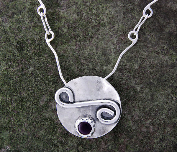 Sterling Silver Disk with Swirl and Amethyst Necklace